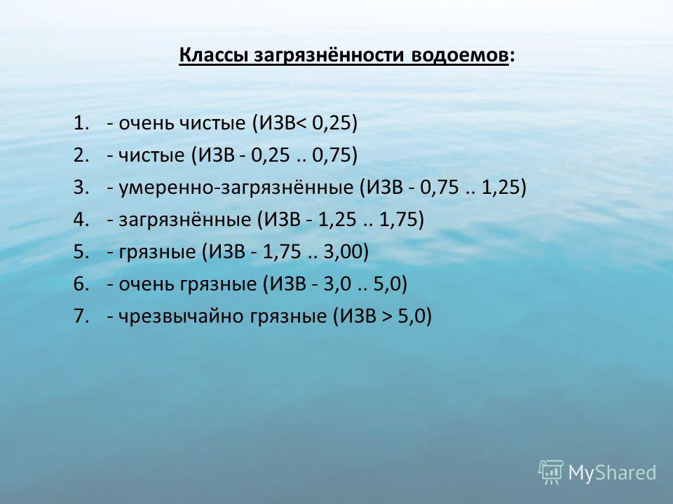 Классы загрязнённости водоемов: 1.- очень чистые (ИЗВ< 0,25) 2.- чистые (ИЗВ - 0,25.. 0,75) 3.- умеренно-загрязнённые (ИЗВ - 0,75.. 1,25) 4.- загрязнённые (ИЗВ - 1,25.. 1,75) 5.- грязные (ИЗВ - 1,75.. 3,00) 6.- очень грязные (ИЗВ - 3,0.. 5,0) 7.- чре