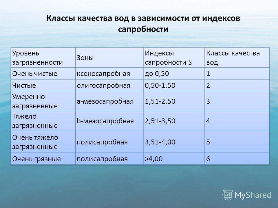 Классы качества вод в зависимости от индексов сапробности