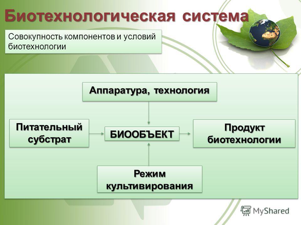 Биотехнологическая система Совокупность компонентов и условий биотехнологии Аппаратура, технология БИООБЪЕКТБИООБЪЕКТ Режим культивирования Питательныйсубстрат Питательныйсубстрат Продуктбиотехнологии Продуктбиотехнологии