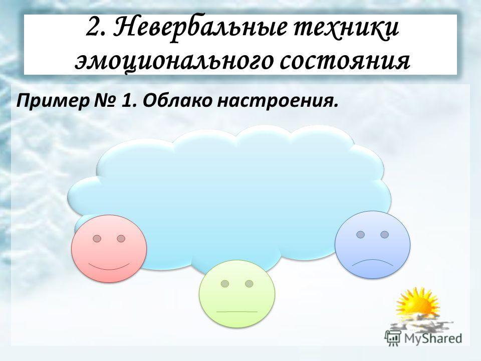 2. Невербальные техники эмоционального состояния Пример 1. Облако настроения.