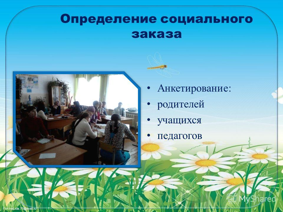 FokinaLida.75@mail.ru Определение социального заказа Анкетирование: родителей учащихся педагогов