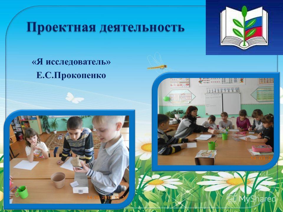FokinaLida.75@mail.ru Проектная деятельность «Я исследователь» Е.С.Прокопенко