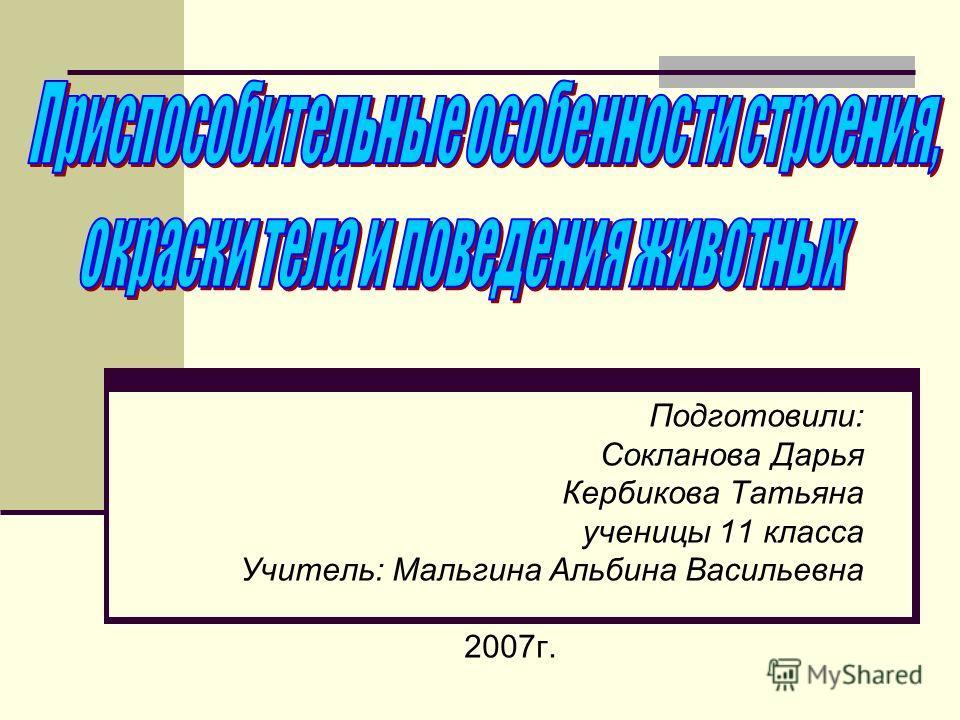 Подготовили: Сокланова Дарья Кербикова Татьяна ученицы 11 класса Учитель: Мальгина Альбина Васильевна 2007 г.