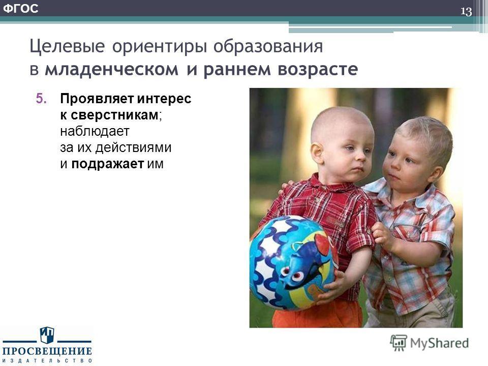 Целевые ориентиры образования в младенческом и раннем возрасте 5. Проявляет интерес к сверстникам; наблюдает за их действиями и подражает им 13 ФГОС
