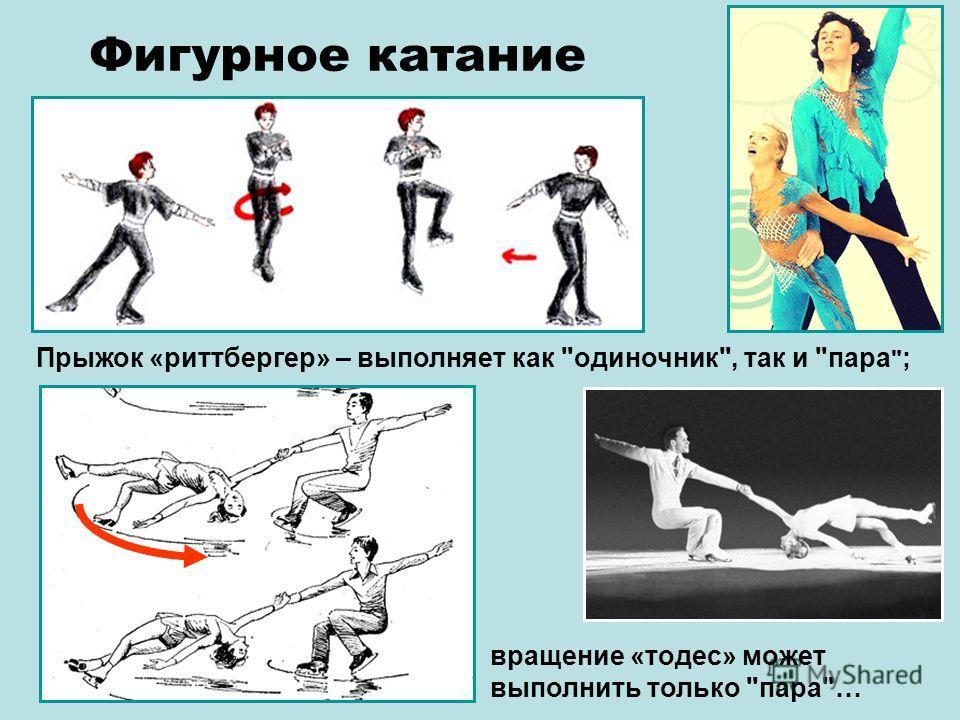 Прыжок «риттбергер» – выполняет как одиночник, так и пара  ; Фигурное катание вращение «тодес» может выполнить только пара…