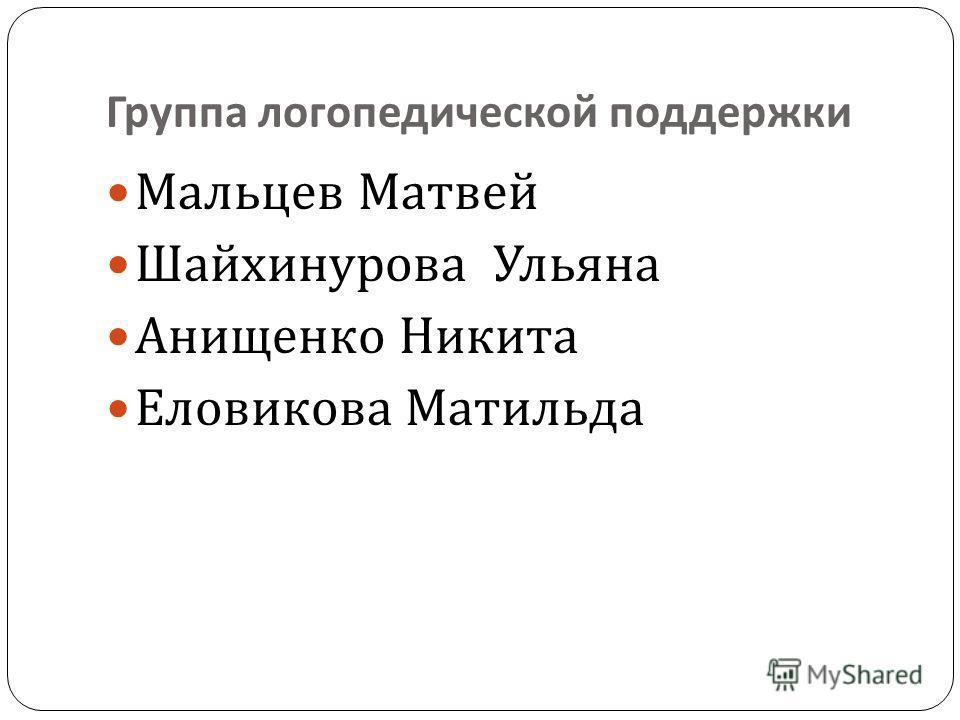 Группа логопедической поддержки Мальцев Матвей Шайхинурова Ульяна Анищенко Никита Еловикова Матильда