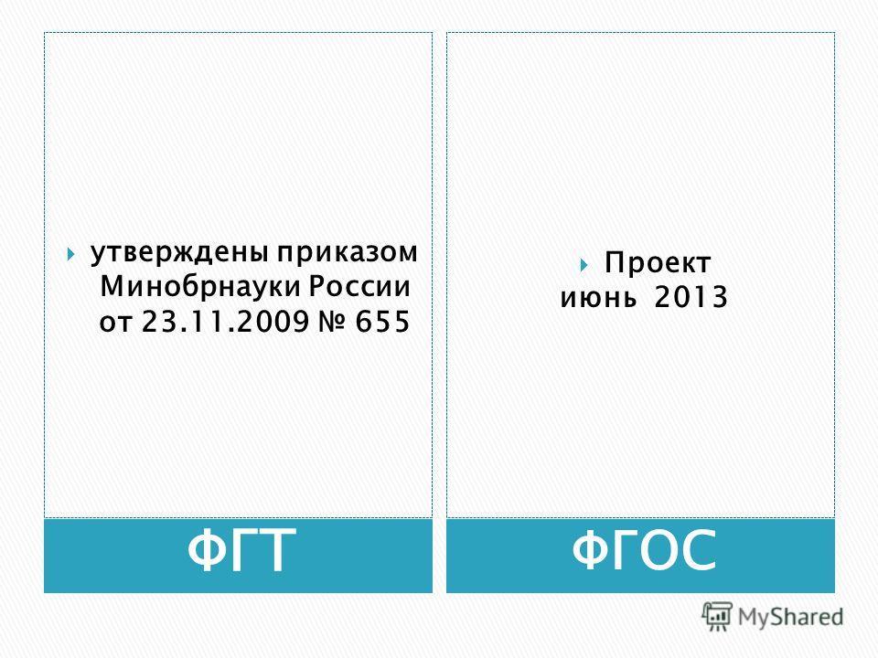 ФГТ ФГОС утверждены приказом Минобрнауки России от 23.11.2009 655 Проект июнь 2013