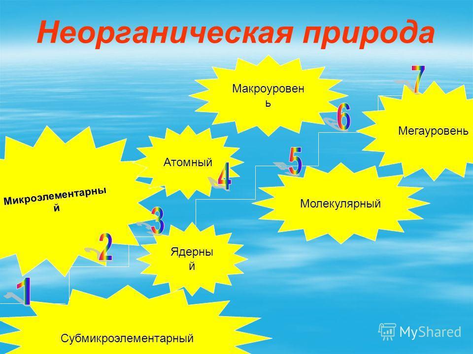 Неорганическая природа Субмикроэлементарный Микроэлементарны й Ядерны й Атомный Молекулярный Макроуровен ь Мегауровень