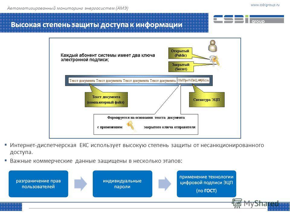 www.csbigroup.ruТЕМА Управляя информацией Автоматизированный мониторинг энергосистем (АМЭ) Высокая степень защиты доступа к информации Интернет-диспетчерская ЕКС использует высокую степень защиты от несанкционированного доступа. Важные коммерческие д