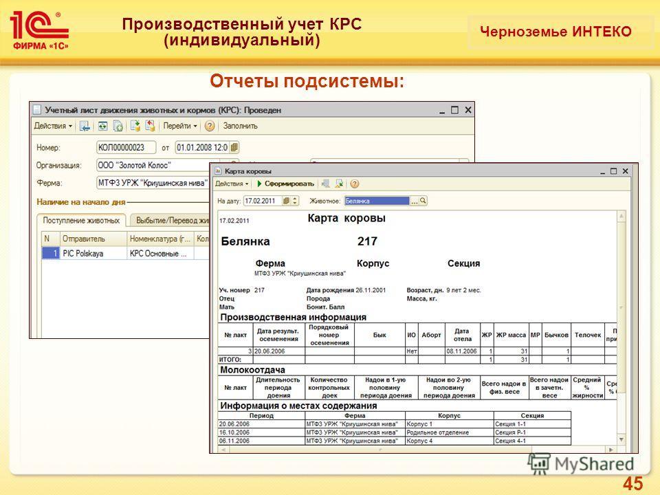 45 Производственный учет КРС (индивидуальный) Отчеты подсистемы: Черноземье ИНТЕКО