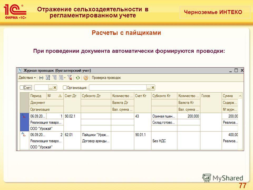 77 Отражение сельхоздеятельности в регламентированном учете При проведении документа автоматически формируются проводки: Расчеты с пайщиками Черноземье ИНТЕКО