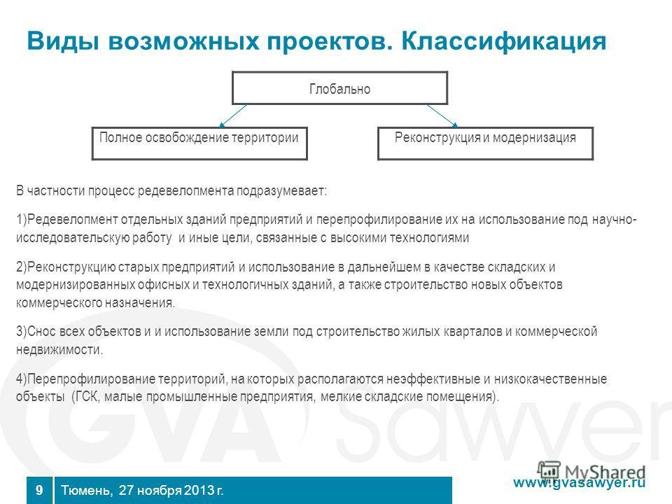 www.gvasawyer.ru Тюмень, 27 ноября 2013 г. 9 Виды возможных проектов. Классификация Полное освобождение территории Реконструкция и модернизация В частности процесс редевелопмента подразумевает: 1)Редевелопмент отдельных зданий предприятий и перепрофи