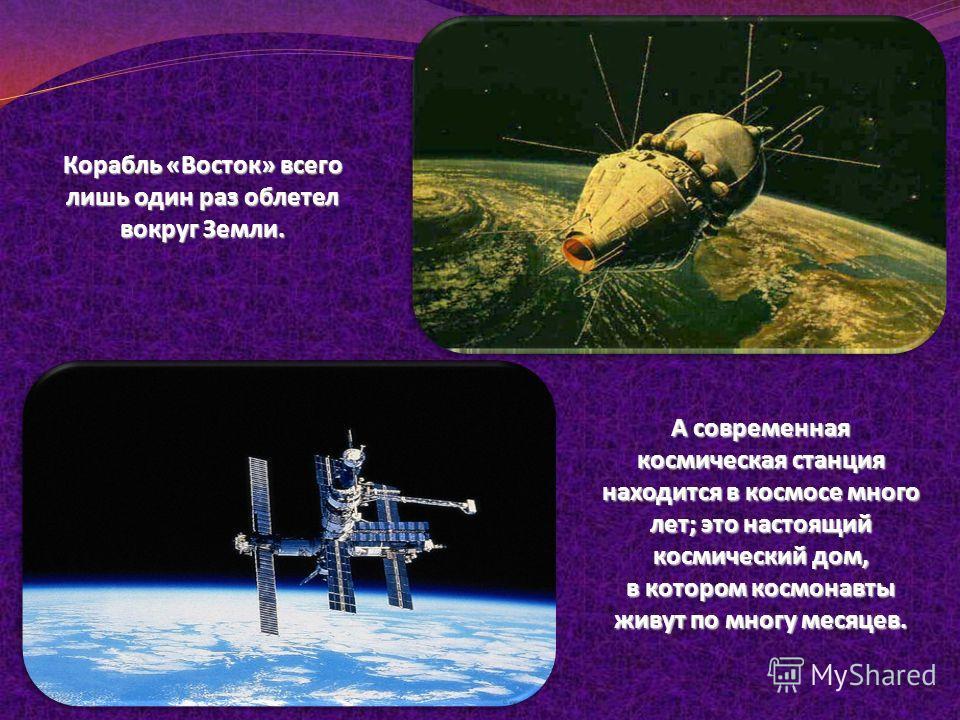 Корабль «Восток» всего лишь один раз облетел вокруг Земли. А современная космическая станция находится в космосе много лет; это настоящий космический дом, в котором космонавты живут по многу месяцев.