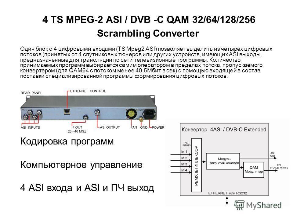4 TS MPEG-2 ASI / DVB -С QAM 32/64/128/256 Scrambling Converter Кодировка программ Компьютерное управление 4 ASI входа и ASI и ПЧ выход www.teleview.ru Один блок с 4 цифровыми входами (TS Mpeg2 ASI) позволяет выделить из четырех цифровых потоков (при
