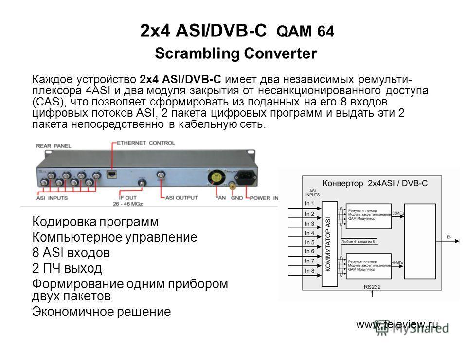 2x4 ASI/DVB-C QAM 64 Scrambling Converter Кодировка программ Компьютерное управление 8 ASI входов 2 ПЧ выход Формирование одним прибором двух пакетов Экономичное решение www.teleview.ru Каждое устройство 2x4 ASI/DVB-C имеет два независимых ремульти-