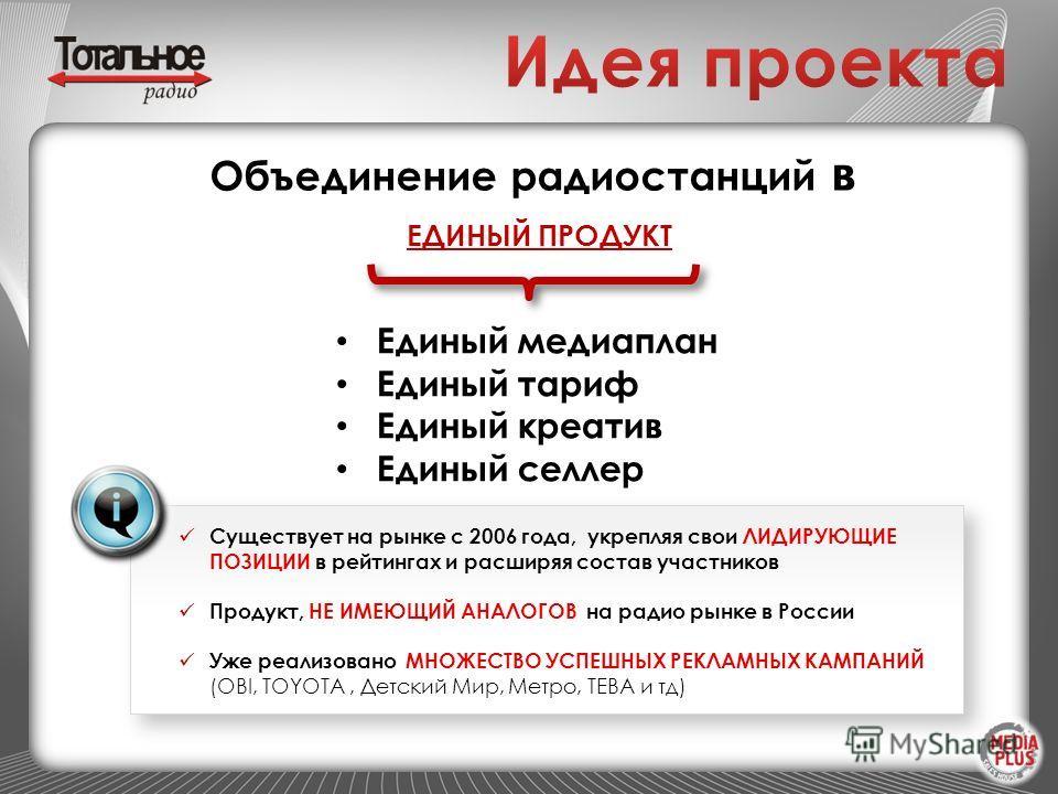 Существует на рынке с 2006 года, укрепляя свои ЛИДИРУЮЩИЕ ПОЗИЦИИ в рейтингах и расширяя состав участников Продукт, НЕ ИМЕЮЩИЙ АНАЛОГОВ на радио рынке в России Уже реализовано МНОЖЕСТВО УСПЕШНЫХ РЕКЛАМНЫХ КАМПАНИЙ (OBI, TOYOTA, Детский Мир, Метро, ТЕ