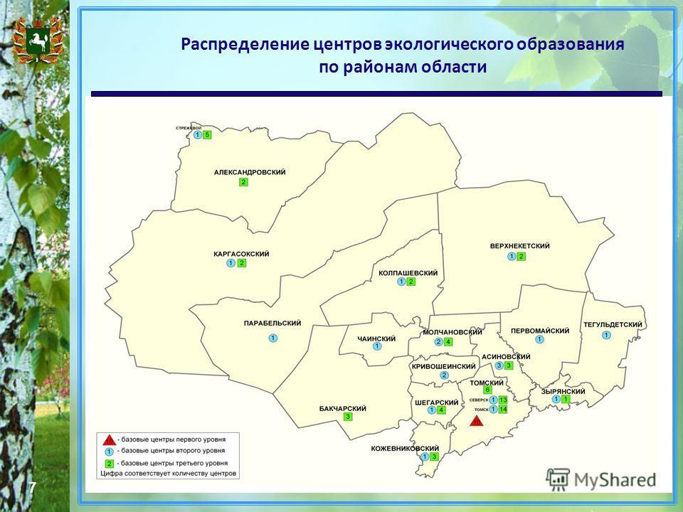 Распределение центров экологического образования по районам области 7