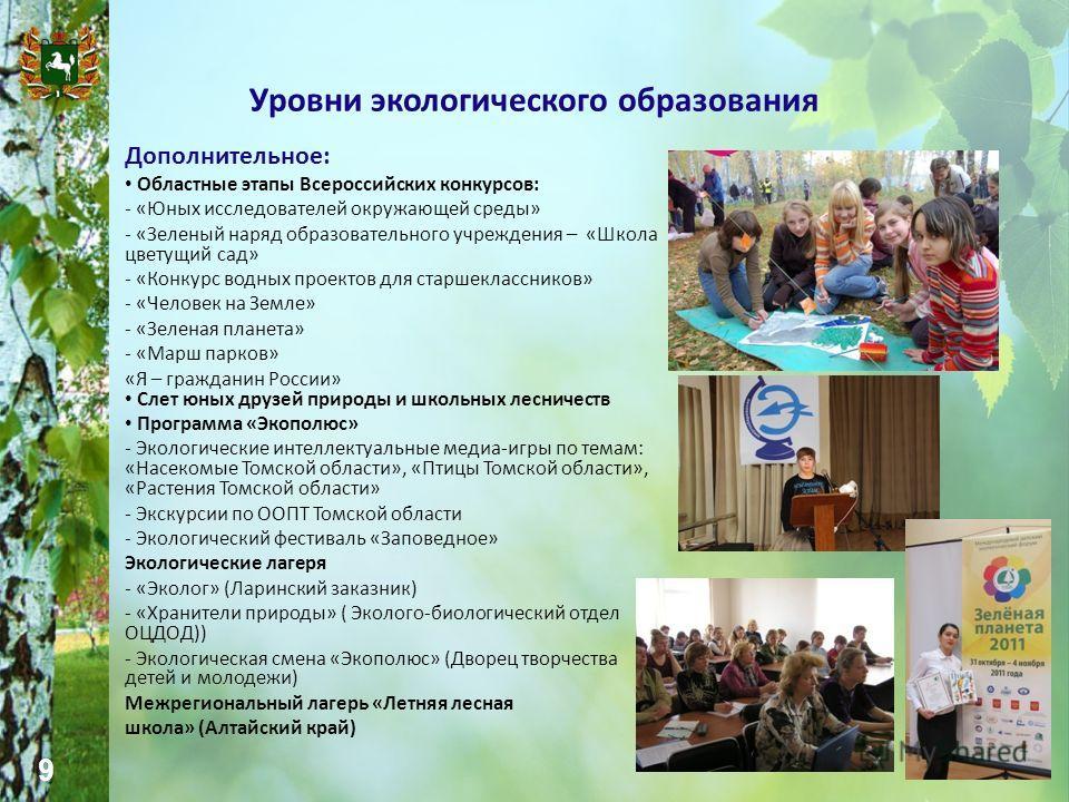 9 Уровни экологического образования Дополнительное: Областные этапы Всероссийских конкурсов: - «Юных исследователей окружающей среды» - «Зеленый наряд образовательного учреждения – «Школа цветущий сад» - «Конкурс водных проектов для старшеклассников»
