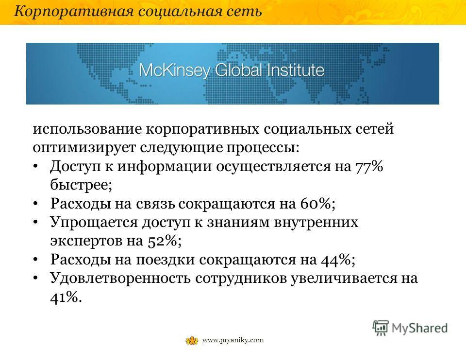 Корпоративная социальная сеть www.pryaniky.com использование корпоративных социальных сетей оптимизирует следующие процессы: Доступ к информации осуществляется на 77% быстрее; Расходы на связь сокращаются на 60%; Упрощается доступ к знаниям внутренни