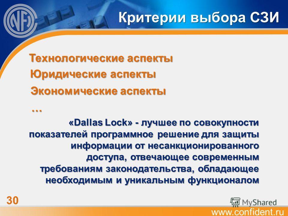 www.confident.ru 3030 Экономические аспекты Критерии выбора СЗИ Юридические аспекты Технологические аспекты … «Dallas Lock» - лучшее по совокупности показателей программное решение для защиты информации от несанкционированного доступа, отвечающее сов