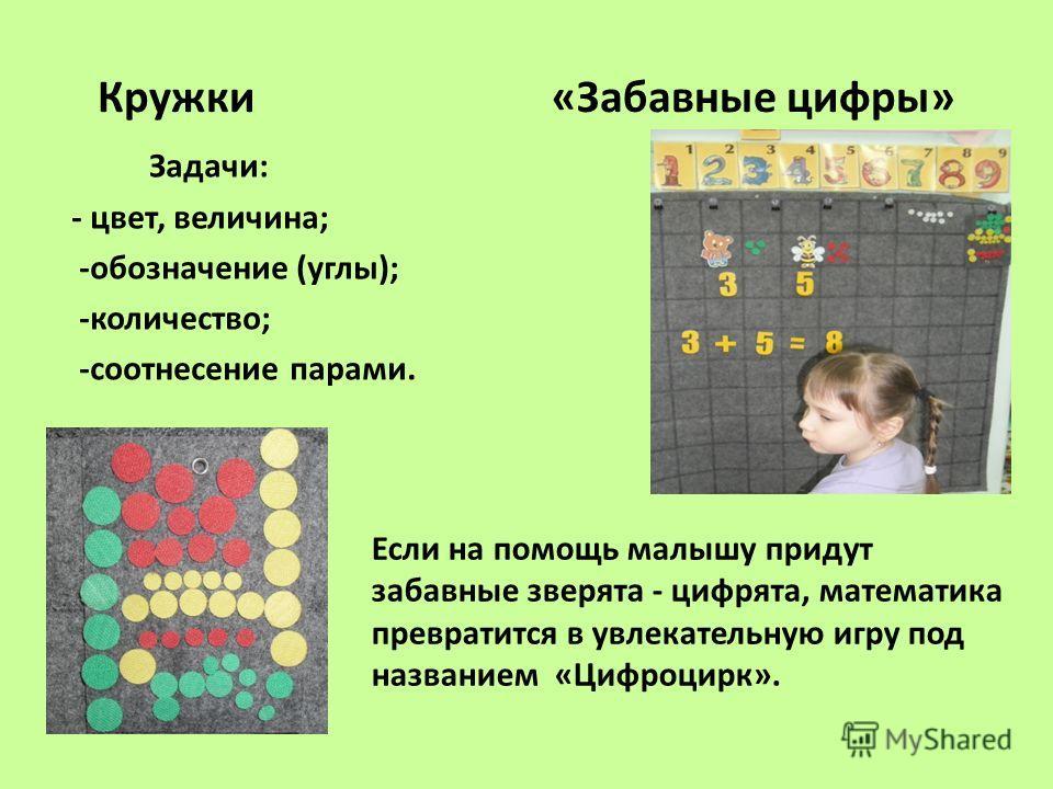Кружки «Забавные цифры» Задачи: - цвет, величина; -обозначение (углы); -количество; -соотнесение парами. Если на помощь малышу придут забавные зверята - цифрята, математика превратится в увлекательную игру под названием «Цифроцирк».