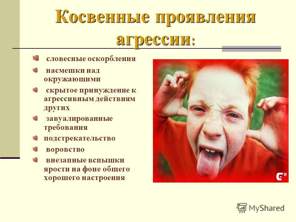 Косвенные проявления агрессии : словесные оскорбления насмешки над окружающими скрытое принуждение к агрессивным действиям других завуалированные требования подстрекательство воровство внезапные вспышки ярости на фоне общего хорошего настроения