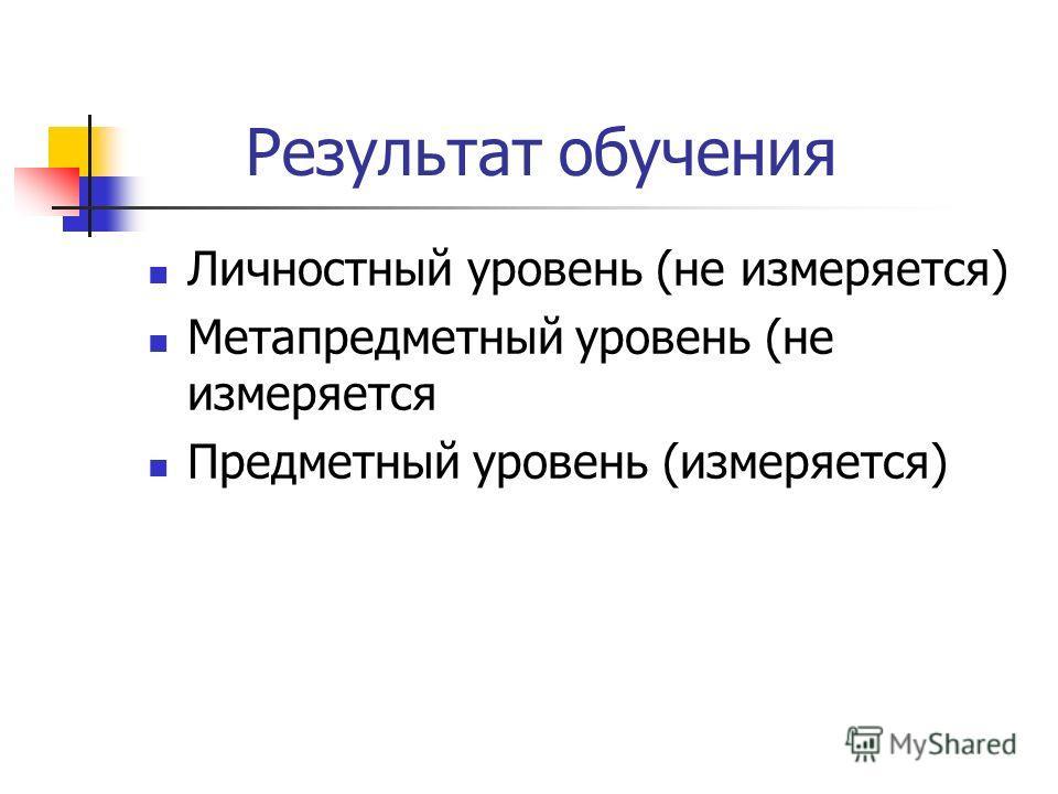 Результат обучения Личностный уровень (не измеряется) Метапредметный уровень (не измеряется Предметный уровень (измеряется)