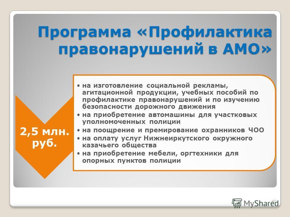 40 Программа «Профилактика правонарушений в АМО» 2,5 млн. руб. на изготовление социальной рекламы, агитационной продукции, учебных пособий по профилактике правонарушений и по изучению безопасности дорожного движения на приобретение автомашины для уча