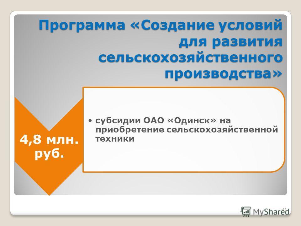 41 Программа «Создание условий для развития сельскохозяйственного производства» 4,8 млн. руб. субсидии ОАО «Одинск» на приобретение сельскохозяйственной техники