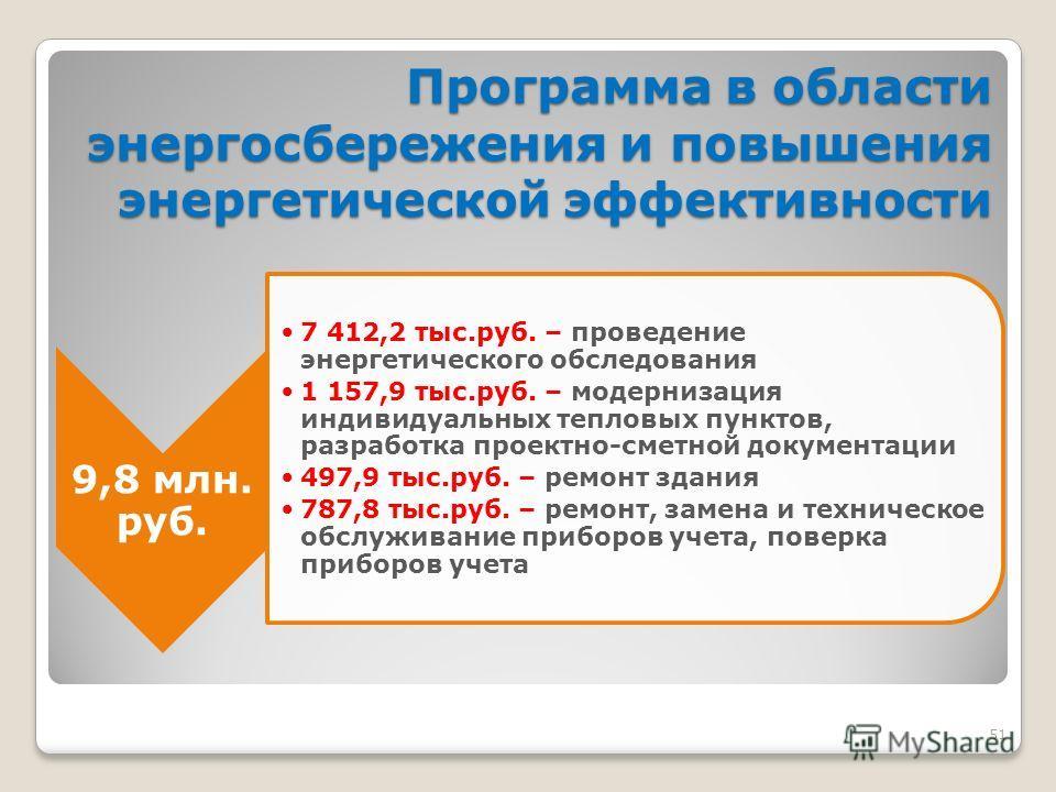 51 Программа в области энергосбережения и повышения энергетической эффективности 9,8 млн. руб. 7 412,2 тыс.руб. – проведение энергетического обследования 1 157,9 тыс.руб. – модернизация индивидуальных тепловых пунктов, разработка проектно-сметной док