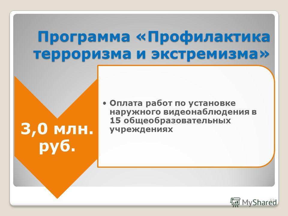 53 Программа «Профилактика терроризма и экстремизма» 3,0 млн. руб. Оплата работ по установке наружного видеонаблюдения в 15 общеобразовательных учреждениях