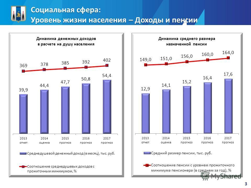 Социальная сфера: Уровень жизни населения – Доходы и пенсии 3