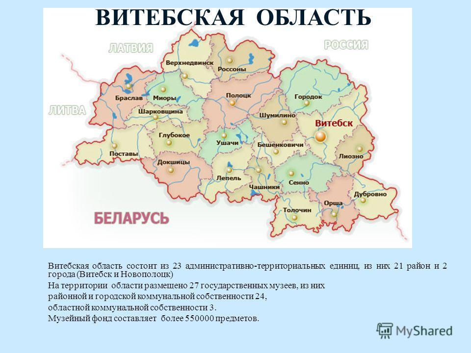 ВИТЕБСКАЯ ОБЛАСТЬ Витебская область состоит из 23 административно-территориальных единиц, из них 21 район и 2 города (Витебск и Новополоцк) На территории области размещено 27 государственных музеев, из них районной и городской коммунальной собственно