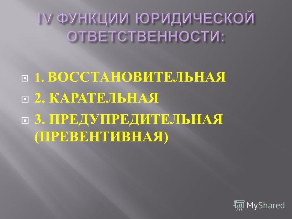 1. ВОССТАНОВИТЕЛЬНАЯ 2. КАРАТЕЛЬНАЯ 3. ПРЕДУПРЕДИТЕЛЬНАЯ ( ПРЕВЕНТИВНАЯ )