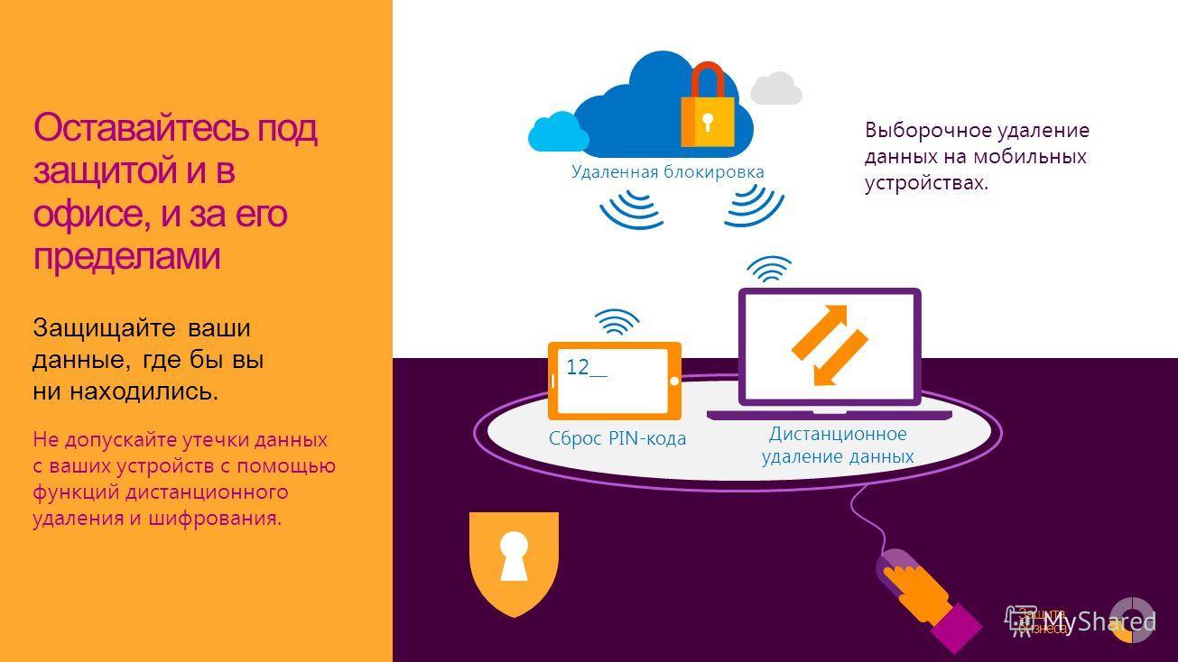 Safeguard your business Оставайтесь под защитой и в офисе, и за его пределами Защищайте ваши данные, где бы вы ни находились. Не допускайте утечки данных с ваших устройств с помощью функций дистанционного удаления и шифрования. Сброс PIN-кода 12__ Ди