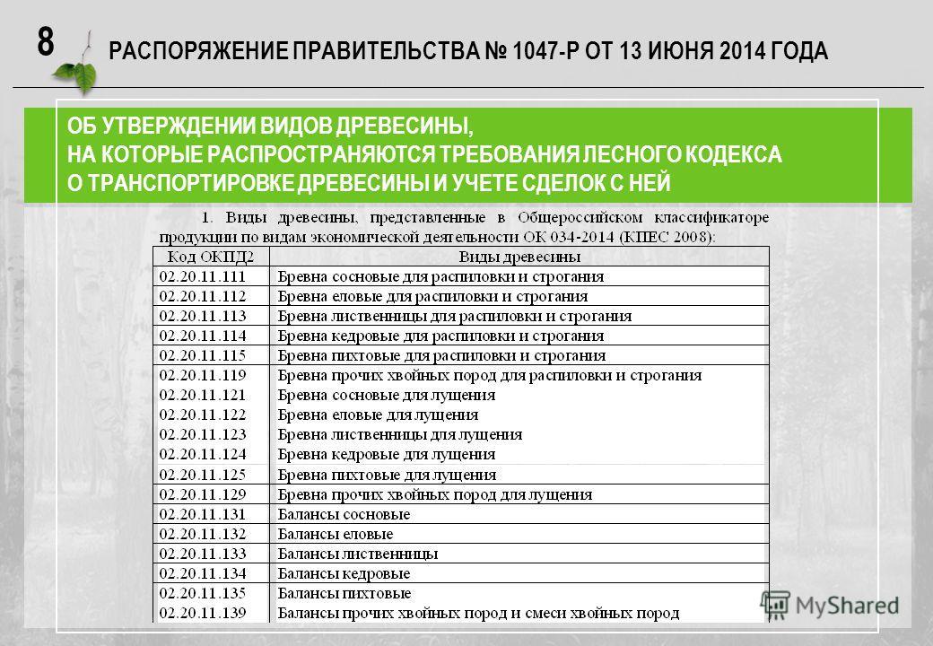 8 РАСПОРЯЖЕНИЕ ПРАВИТЕЛЬСТВА 1047-Р ОТ 13 ИЮНЯ 2014 ГОДА ОБ УТВЕРЖДЕНИИ ВИДОВ ДРЕВЕСИНЫ, НА КОТОРЫЕ РАСПРОСТРАНЯЮТСЯ ТРЕБОВАНИЯ ЛЕСНОГО КОДЕКСА О ТРАНСПОРТИРОВКЕ ДРЕВЕСИНЫ И УЧЕТЕ СДЕЛОК С НЕЙ