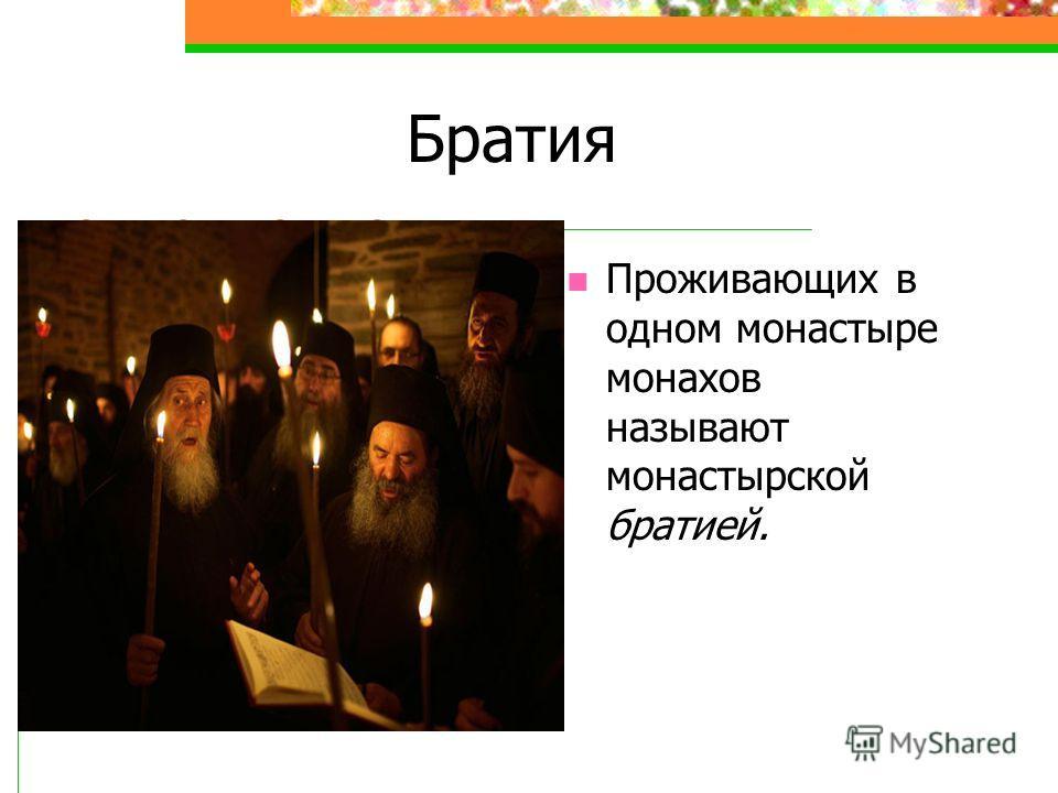 Братия Проживающих в одном монастыре монахов называют монастырской братией.