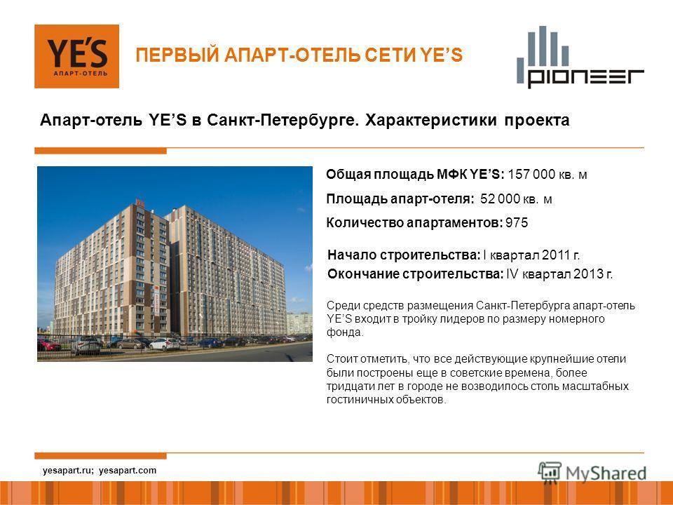 yesapart.ru Апарт-отель YES в Санкт-Петербурге. Характеристики проекта Начало строительства: I квартал 2011 г. Окончание строительства: IV квартал 2013 г. Общая площадь МФК YES: 157 000 кв. м Площадь апарт-отеля: 52 000 кв. м Количество апартаментов: