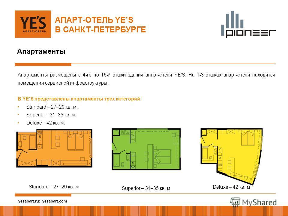 yesapart.ru Апартаменты АПАРТ-ОТЕЛЬ YES В САНКТ-ПЕТЕРБУРГЕ Апартаменты размещены с 4-го по 16-й этажи здания апарт-отеля YE'S. На 1-3 этажах апарт-отеля находятся помещения сервисной инфраструктуры. В YE'S представлены апартаменты трех категорий: Sta