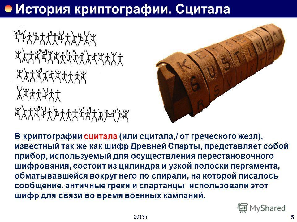 История криптографии. Сцитала В криптографии сцитала (или сцитала,/ от греческого жезл), известный так же как шифр Древней Спарты, представляет собой прибор, используемый для осуществления перестановочного шифрования, состоит из цилиндра и узкой поло