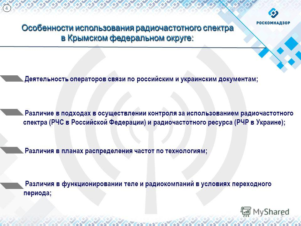 5 Особенности использования радиочастотного спектра в Крымском федеральном округе: Деятельность операторов связи по российским и украинским документам; Различие в подходах в осуществлении контроля за использованием радиочастотного спектра (РЧС в Росс