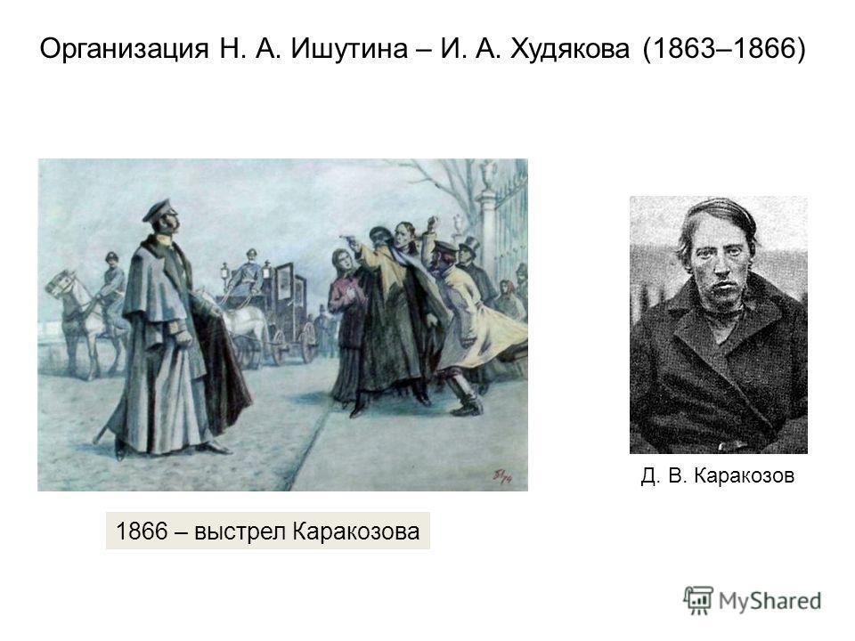 1866 – выстрел Каракозова Д. В. Каракозов Организация Н. А. Ишутина – И. А. Худякова (1863–1866)
