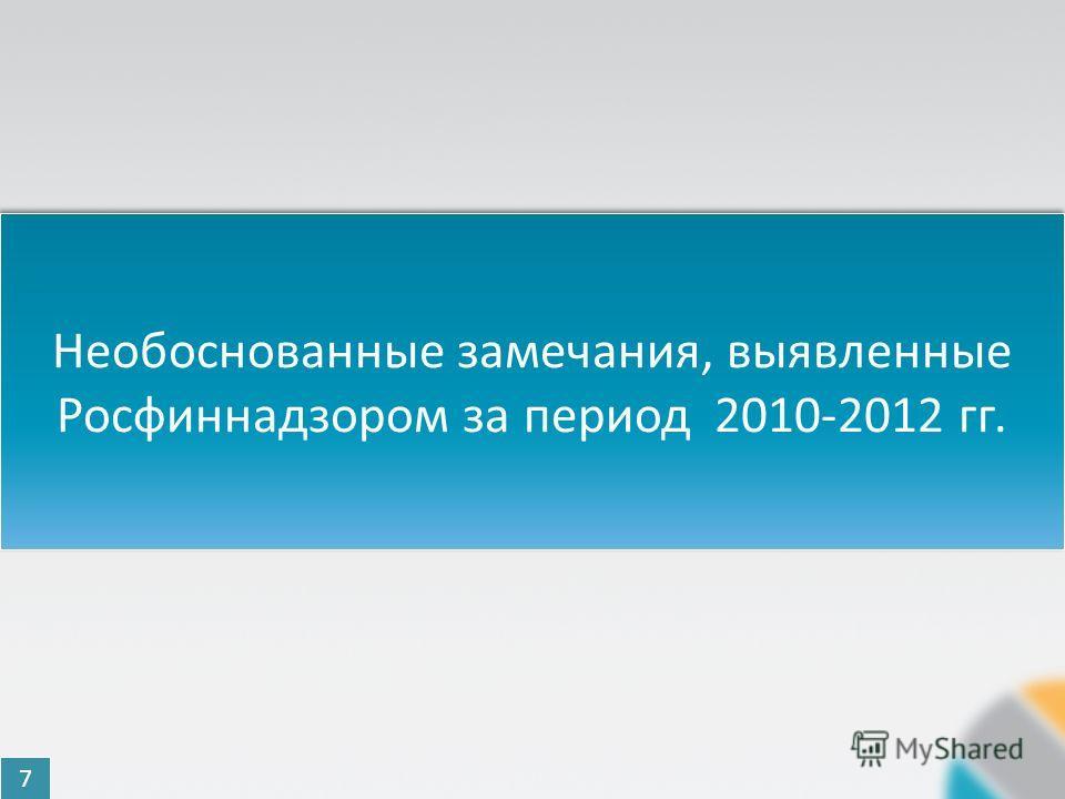 Необоснованные замечания, выявленные Росфиннадзором за период 2010-2012 гг. 7