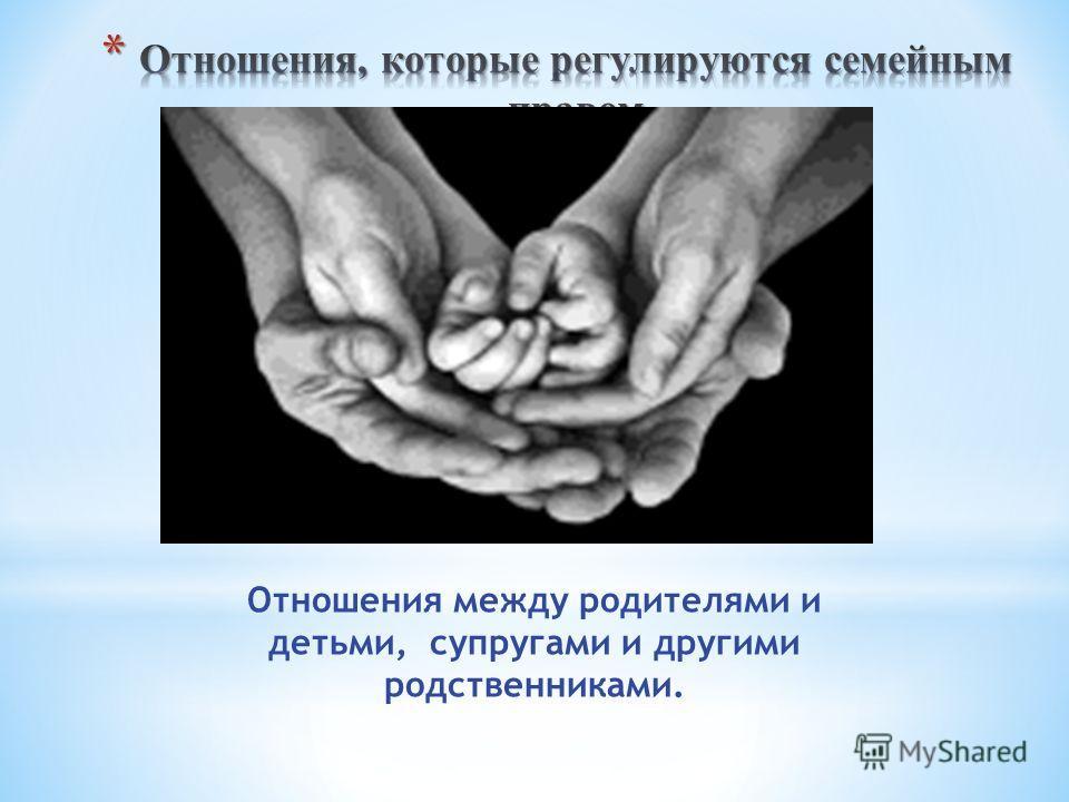 Отношения между родителями и детьми, супругами и другими родственниками.