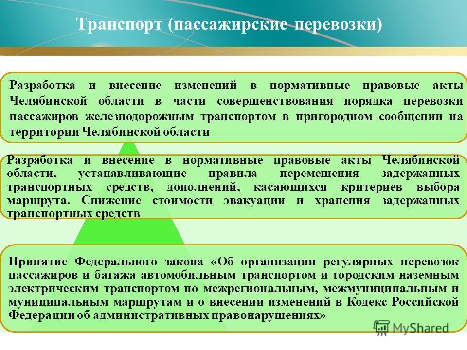 Транспорт (пассажирские перевозки) Разработка и внесение в нормативные правовые акты Челябинской области, устанавливающие правила перемещения задержанных транспортных средств, дополнений, касающихся критериев выбора маршрута. Снижение стоимости эваку