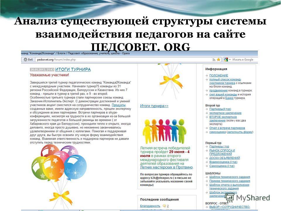 Анализ существующей структуры системы взаимодействия педагогов на сайте ПЕДСОВЕТ. ORG