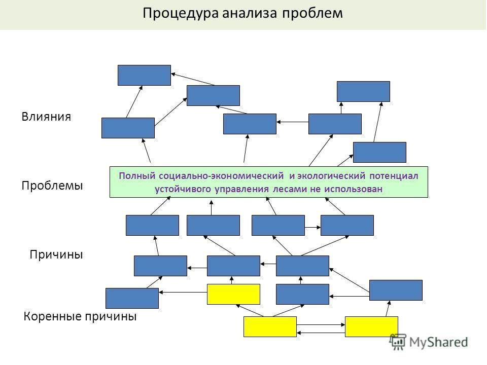 Полный социально-экономический и экологический потенциал устойчивого управления лесами не использован Проблемы Причины Влияния Коренные причины Процедура анализа проблем
