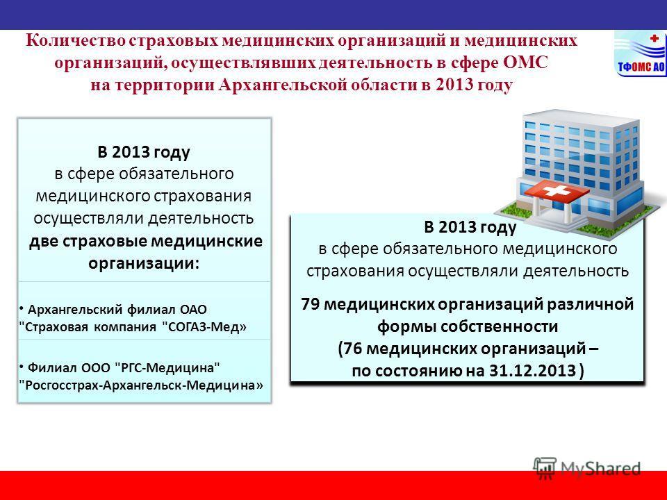 Количество страховых медицинских организаций и медицинских организаций, осуществлявших деятельность в сфере ОМС на территории Архангельской области в 2013 году