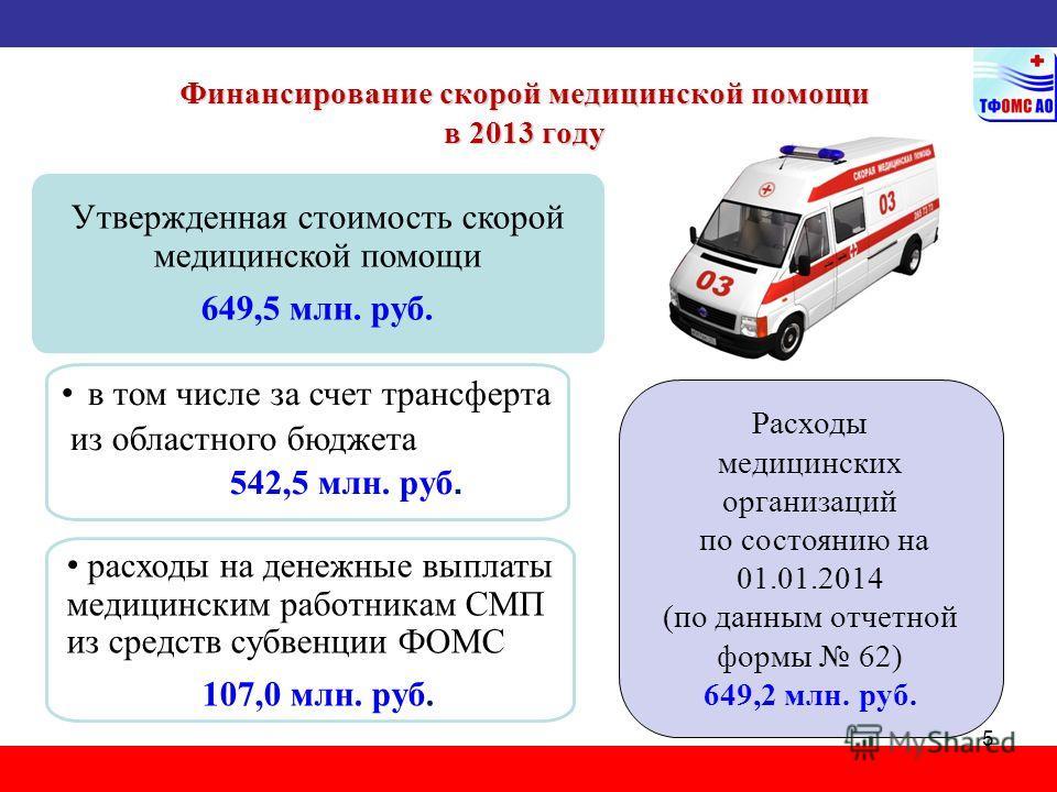 Финансирование скорой медицинской помощи в 2013 году 542,5 млн. руб. 5 Утвержденная стоимость скорой медицинской помощи 649,5 млн. руб. в том числе за счет трансферта из областного бюджета 542,5 млн. руб. расходы на денежные выплаты медицинским работ