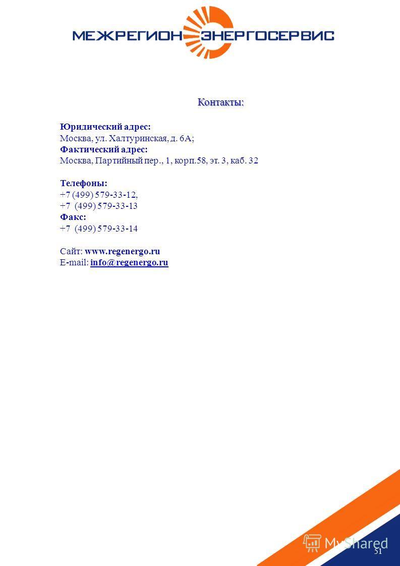 51 Контакты: Юридический адрес: Москва, ул. Халтуринская, д. 6А; Фактический адрес: Москва, Партийный пер., 1, корп.58, эт. 3, каб. 32 Телефоны: +7 (499) 579-33-12, +7 (499) 579-33-13 Факс: +7 (499) 579-33-14 Сайт: www.regenergo.ru E-mail: info@regen
